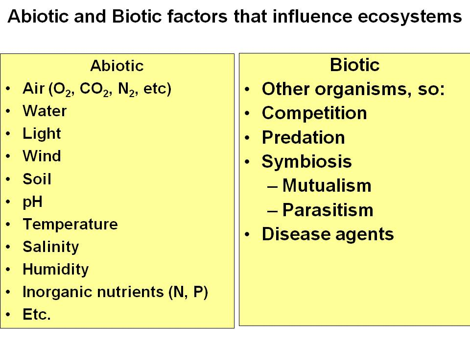 Biotic and abiotic factors in an ecosystem worksheet answers
